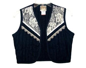 Vintage 70s 80s GUNNE SAX by Jessica Dark Blue Denim and White Lace Vest- Size 7