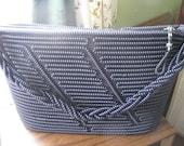 Vintage Beaded Handbag, beaded, navy blue, handbag, purse, 1950's