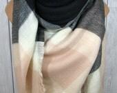 Blanket Scarf for Women, Gray, Soft Light Pink, Black, Women's Zara Tartan Inspired, Oversized Large Winter Scarves