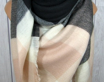 Tuesday SALE Blanket Scarf in Light Pink, Black, Women's Zara Tartan Inspired, Oversized Large Winter Scarves