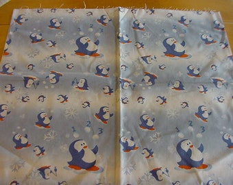 2 Pieces Fabric 1/2 Yard Each, Penguins Fishing, Snowflakes, Snowballs, Blue and White Background, JoAnn Stores