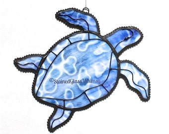 Stained Glass SEA TURTLE Suncatcher - Violet, Blues, Purples , with White - USA Handmade Original Design