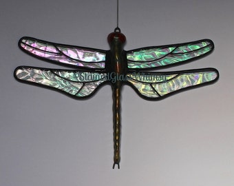 Stained Glass DRAGONFLY Suncatcher, Aurora Borealis, Clear Rainbow Iridescent Wings, USA Handmade, Iridescent Dragonfly, Iridescent Firefly