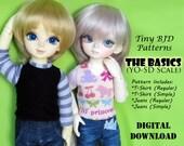 Yo-SD sized Jeans T-Shirt Basics clothes pattern for LittleFee, YoSD, Honey Delf & Similar sized BJD dolls