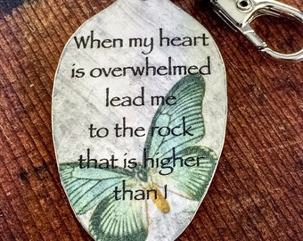 Psalm 61:2 Keychain, When my heart is overwhelmed, lead me to the rock that is higher than I,Scripture Keychain,Religious Gift for Christian