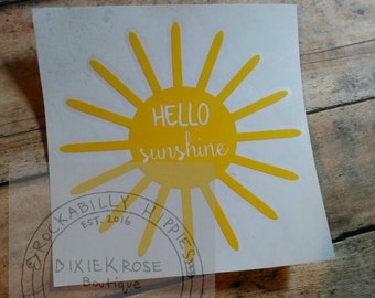 Hello Sunshine vinyl decal/Car decal/Laptop decal/Vinyl decal/Mirror decal/Notebook decal/Glass decal