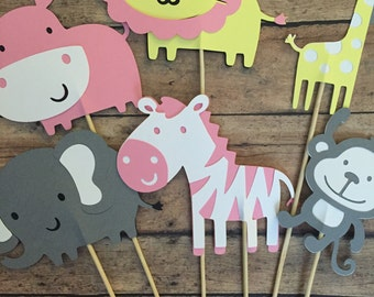 Safari Centerpieces- Pink Yellow Grey- It's a girl- girl safari centerpieces- safari theme- party decorations- jungle baby shower