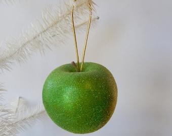 Apple Ornament Glittered Granny Smith