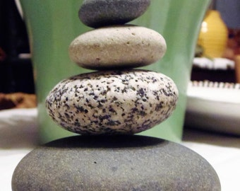 Alaskan Beach Rock Stack 5 Natural Sea Stones Zen Stones Zen Garden Sculpture Rock Art Yoga Meditation Gift Memorial Marker Home Decor Peace