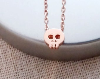 Rose Gold Skull  Necklace, Small Skull Necklace, Rose Gold Filled Necklace, Skull Jewelry, Halloween Necklace, Trendy Hip