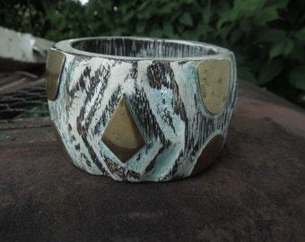 Wood Brass Bangle Bracelet Vintage Painted White Washed