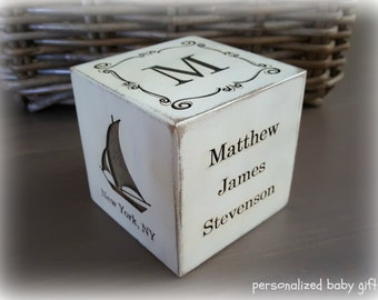 Personalized baby gift, custom baby gift, engraved baby, newborn nursery decor, wooden block, wooden cube, gift for parents, grandma's gift
