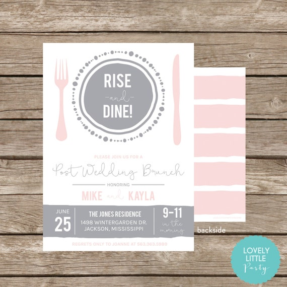 RISE and DINE Post Wedding Breakfast/Brunch Invitation - Celebrate the Plate Collection -  Lovely Little Party