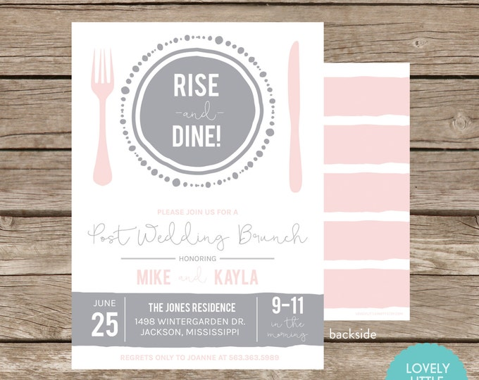 Featured listing image: RISE and DINE Post Wedding Breakfast/Brunch Invitation - Celebrate the Plate Collection -  Lovely Little Party