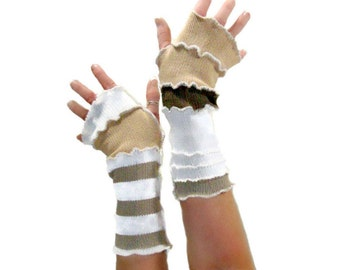 Brown and Khaki Arm Warmers, Upcycled Arm Warmers, Upcycled Clothing, Brown Fingerless Gloves, OOAK Arm Warmers, Handmade Arm Warmers