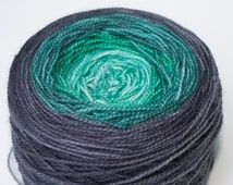 Gradient Fingering Weight Yarn, Hand Dyed in Fairy Frost Colorway