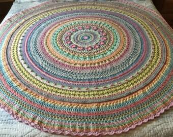 Beautiful Mandala Style 100% Cotton Afghan/Throw