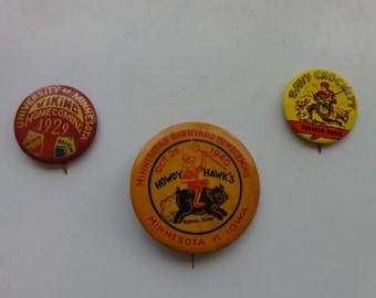Lot of 3 Rare Hard-To-Find Mid-Century Celluloid Pinbacks 1929, 1940, 1950's
