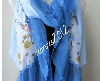 PAREO - Blue white Turkish floral print natural cotton gauze scarf lace ruffle trimmed, yemeni women's scarves bohemian summer Fashion scarf