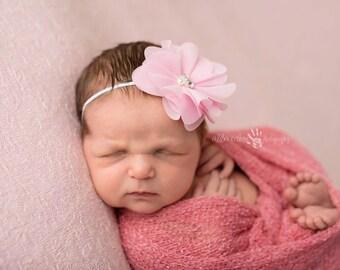 Pink Headband, Baby Headband, Infant Headband- Pink Chiffon Floral headband with  Pearl Center on Skinny Elastic Hair Accessories