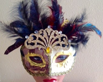 Masquerade Ball Mardi Gras Venetian Mask Adorned with Feathers Gems Glitz