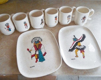 Unique handmade from Holland molds Two Kachina snack plates and six coffee cups, Hopi southwest decor