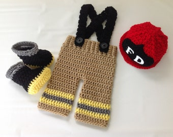 Baby Firefighter Fireman Crochet Red Hat Outfit - 4pc Turnout Gear w/Suspenders & Boots - Photography Prop - Newborn
