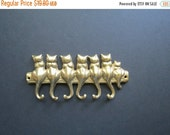 ON SALE Brass Cat Hooks Rack // Vintage Retro Brass Wall Mount Key or Jewelry Hooks Cats on a Log Cute Animal Lover Gift Idea Mid Century Ho