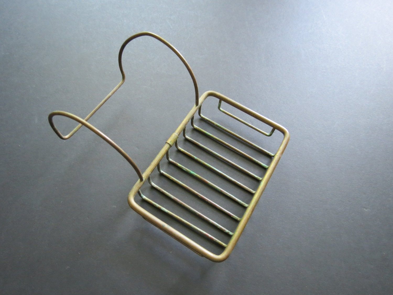 Ancien porte savon en laiton laiton vintage style m tal for Accessoire porte savon pour baignoire