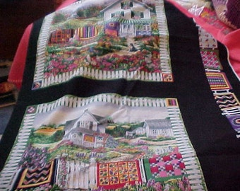 Banks Oregon Colorful Houses and Quilts Fabric Squares by Diane Phalen  (12)