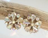 Vintage Rhinestone Earrings, West Germany, Vintage Earrings, Aurora Borealis Button Clips