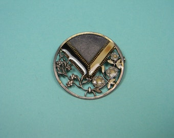 Art Deco Style Vintage Brooch or Pin, Enamel, Flowers, Elegant
