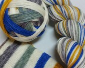 Saturated SPARKLE Sock Selfstriping  8 color Chanukah
