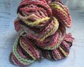 SALE! Handspun bulky art yarn BFL silk metallic thread