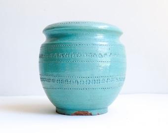 Mid Century Large Turquoise & Cream 1950's Italian Ceramic Tall Planter Flower Pot Bitossi Style