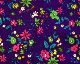 Vivid Purple Floral Orlon Fabric from the 1960s 5 Yards