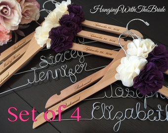 Set of 4 Personalized Hanger,  Custom Bridal Hangers,Bridesmaids gift, Wedding hangers with names,Custom made hangers