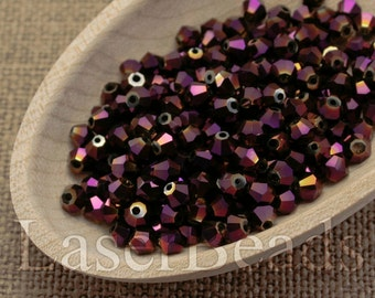 4mm bicone 50pc 4mm Purple Bicone Beads Metallic purple Machine Cut beads Bicone glass beads last