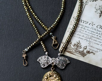 Tied With A Bow/Antique Locket/Vintage Shoe Clip/Pyrite Gemstones