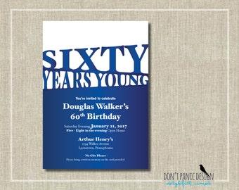 Printable 60th Birthday Invitation - Blue Birthday - Modern Birthday Invitation - Retirement Anniversary Surprise Party - Custom Color