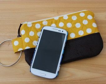 Small Quilted Wristlet Mustard and White Polka Dot Dark Brown Suede Cloth