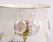 SALE Sterling silver earrings with white large reborn Keshi pearls, delicate keishi pearl earrings, bridal white pearl large round pearls