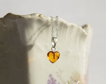 SALE Tiny heart shaped natural Baltic amber pendant with inclusions, sterling silver necklace, natural amber, honey orange baltic amber hear