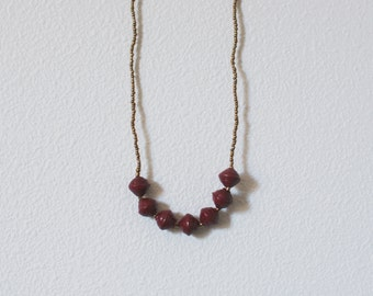 Long Red Paper Bead Necklace