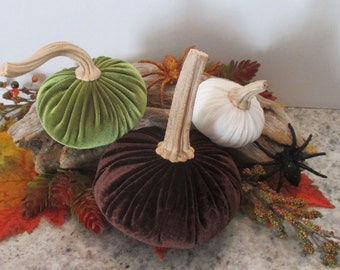 Autumn Trio of Velvet Pumpkins with natural stems