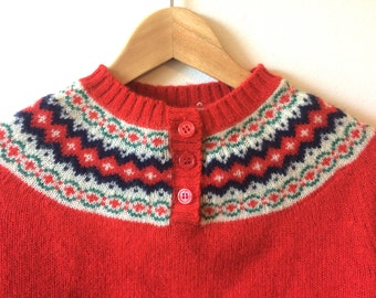 XS Fairisle Collar Red Wool Sweater Buttons at Neck Womens XS - Small