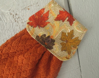 Hanging Kitchen Towel- Maple Oak Leaves Rust Orange Terry Cloth Towel Button Closure