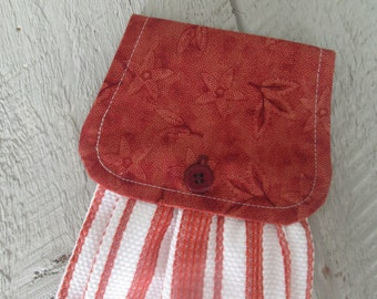 Hanging Kitchen Towel- Brick Red Flower Leaves  Rust/ White Stripes Cotton Woven Towel Button Closure