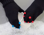 Black Knitted Wool Mittens with mini Red and Blue pompoms for Winter Gift for Her Women Accessories europeanstreetteam