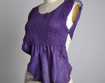 ON SALE Purple Leather Top - Leather Halter Top - Festival Clothing - Halter Tops - Summer Tops - Leather Festival Top